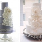 Cascading Petals wedding cake by Leslea Matsis Cakes NZ on the left and from Style Me Pretty .com on right as photoed by Kristin Vinin